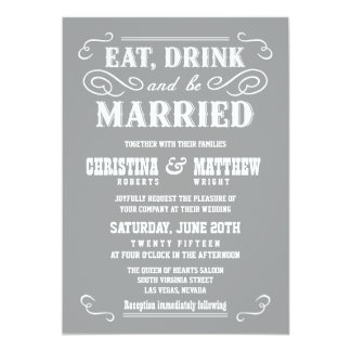 Ash Gray Old West Wedding Invitations