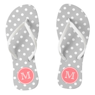 Ash Grey and White Polka Dots with Coral Pink Jandals