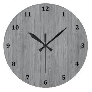 Ash Grey Bamboo Wood Grain Look Large Clock