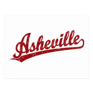 Asheville script logo in red postcard