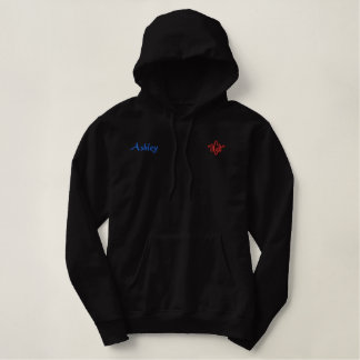 Ashley Name With English Meaning Black Embroidered Hoodie