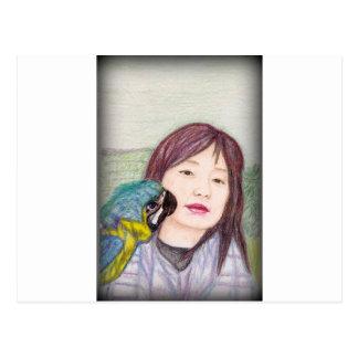 Asian beauty lady woman girl postcard