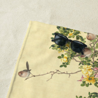 Asian Birds Roses Heart Flowers Beach Towel