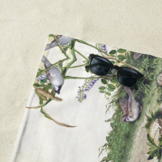 Asian Birds Wildflower Flower Meadow Beach Towel