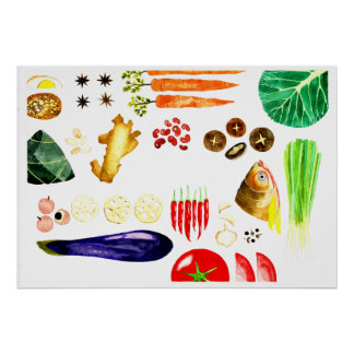 Asian Food Cooking Watercolor Poster