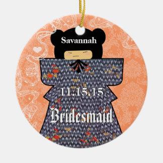 Asian Kimono Birdesmaid Gifts Coral Changes Round Ceramic Decoration