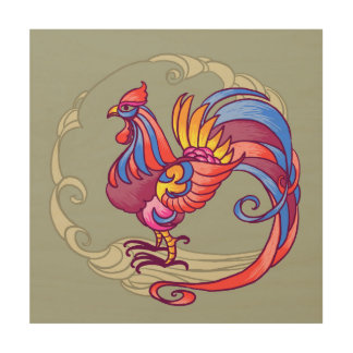 Asian Rooster Wood Print