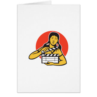 Asian woman girl with movie clapboard greeting card