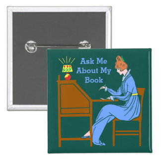 Ask Me About My Book Art Deco Lady Author 15 Cm Square Badge