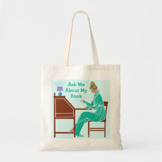 Ask Me About My Book Art Deco Lady Author Budget Tote Bag