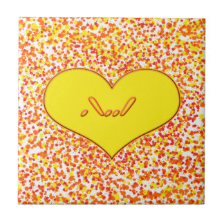 ASL-I Love You with Heart by Shirley Taylor Small Square Tile