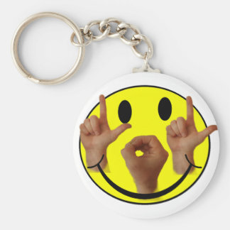 ASL LOL SMILEY FACE BASIC ROUND BUTTON KEY RING