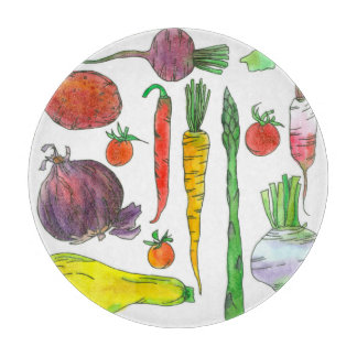Asparagus Beets Carrots Watercolor Root Vegetables Cutting Board