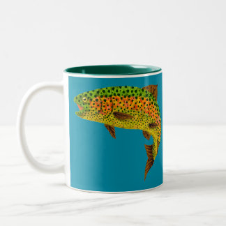 Aspen Leaf Rainbow Trout 1 Two-Tone Coffee Mug