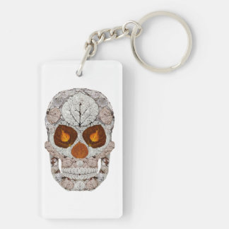 Aspen Leaf Skull 11 Double-Sided Rectangular Acrylic Key Ring