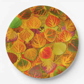 Aspen Leaves Collage Solid Medley 1 9 Inch Paper Plate