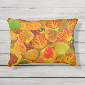 Aspen Leaves Collage Solid Medley 1 Outdoor Cushion