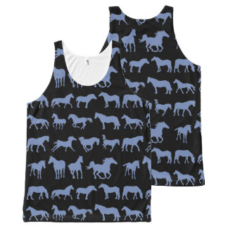 Assorted Blue Horse Breeds All-Over Print Singlet