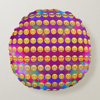 Assorted Emojis In Space Round Throw Pillow
