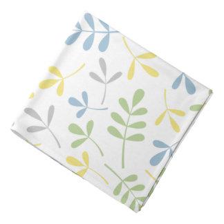 Assorted Leaves Blue Green Grey Yellow White Ptn Bandana