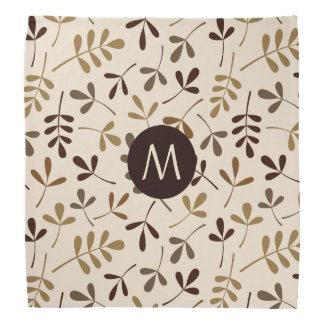 Assorted Leaves Gold Browns Crm Ptn (Personalized) Bandana