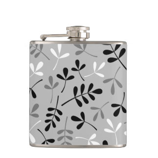Assorted Leaves Monochrome Pattern Hip Flask