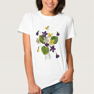 Assorted Wild Violets Done in Crewel Embroidery Tshirts