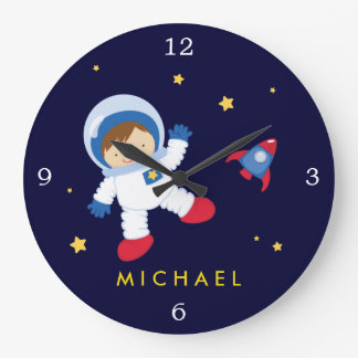 Astronaut Boy Space Themed Wall Clocks