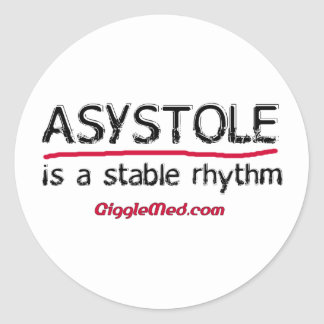 Asystole Medical Humor Stickers