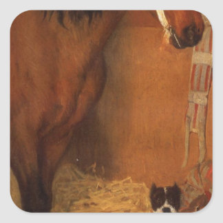 At the Stables, Horse and Dog by Edgar Degas Square Sticker