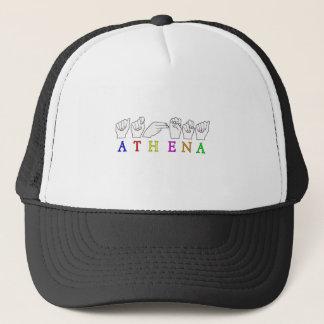 ATHENA ASL FINGERSPELLED NAME SIGN TRUCKER HAT