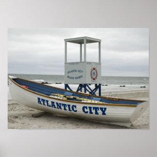 Atlantic City, NJ Lifeguard Boat Poster