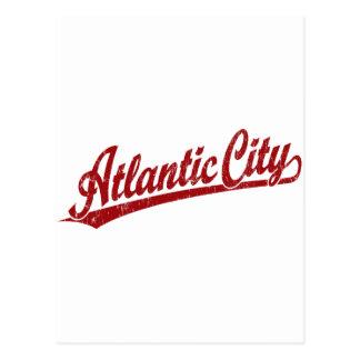 Atlantic City script logo in red Postcard