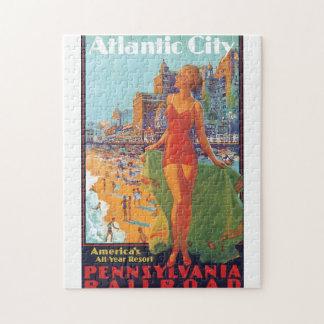 Atlantic City Vintage Travel Poster Jigsaw Puzzle