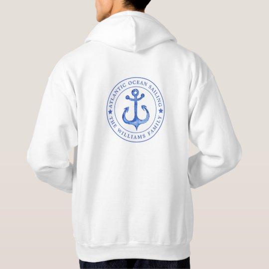 Atlantic Ocean Sailing | Navy Anchor  Personalised Hoodie
