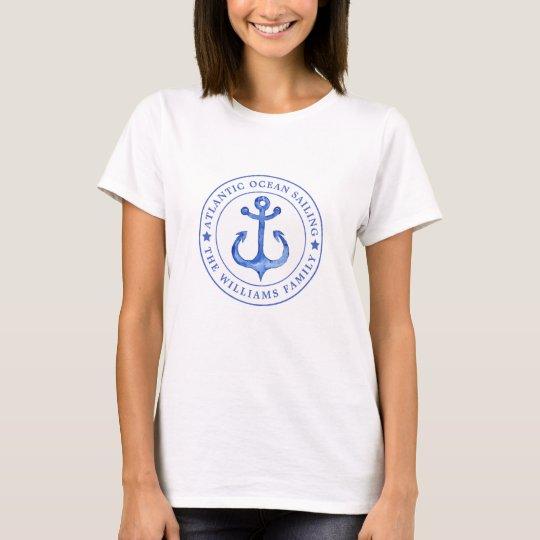 Atlantic Ocean Sailing | Navy Anchor  Personalised T-Shirt