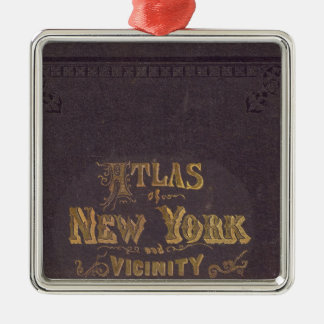 Atlas of New York vicinity Silver-Colored Square Decoration
