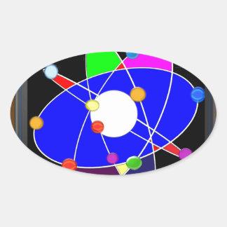 ATOM science explore study research NVN632 SCHOOL Oval Sticker