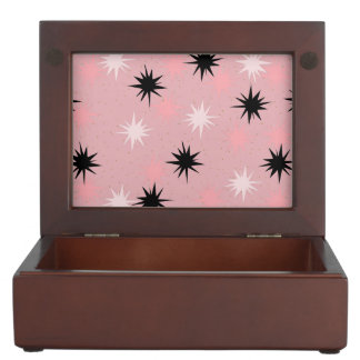 Atomic Pink Starbursts Wooden Keepsake Box