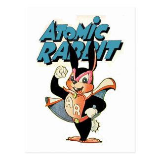 Atomic Rabbit funny cartoon art superhero Postcard