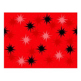 Atomic Red Starbursts Postcard
