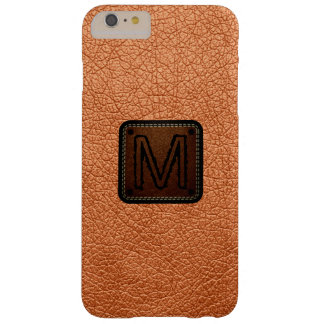 Atomic tangerine Leather Look Monogram Barely There iPhone 6 Plus Case