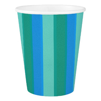 Atomic Teal & Turquoise Stripes Paper Cup