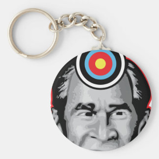 Attack of the flying shoe-Throw Shoe @ George Bush Basic Round Button Key Ring