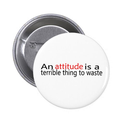 Attitude Is A Terrible Thing To Waste Buttons