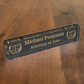 Attorney Scales of Justice Black and Gold Nameplate