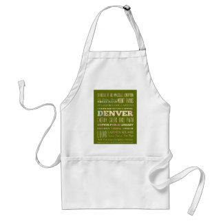 Attractions & Famous Places of Denver, Colorado. Standard Apron