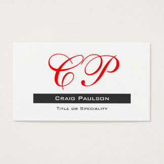 Attractive Red Black White Monogram Business Card