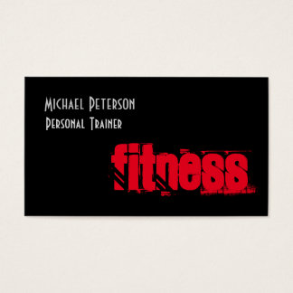 Attractive Unique Black Gray Personal Trainer Business Card
