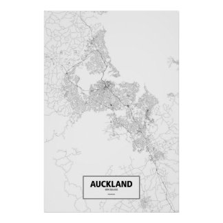 Auckland, New Zealand (black on white) Poster